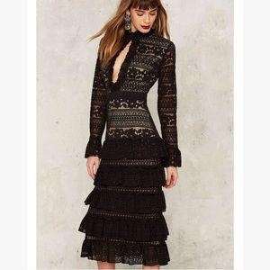 Nasty gal Dickinson black & nude ruffle lace dress